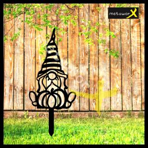 Metal Gnome Garden Stake